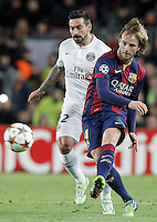 FC Barcelona's Ivan Rakitic (r) and Paris Saint-Germain's Ezequiel Lavezzi during Champions League 2014/2015 match.December 10,2014. (ALTERPHOTOS/Acero) /NortePhoto