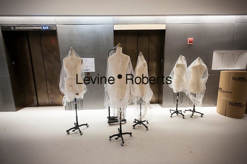 Mannequins slated for Parsons' famed School of Fashion in the new University Center building of the New School for Social Research in Greenwich Village in New York on Friday, December 27, 2013. The 16-story, multi-purpose building houses state-of-the-art classrooms,  a convertible auditorium and seven floors dormitories. The 375,000 square foot building opens in January 2014 and was designed by Skidmore, Owings & Merrill. The building will house students from the Eugene Lang College, the New School for Public Engagement, Mannes College as well as Parsons and the New School for Social Research.  (© Richard B. Levine)