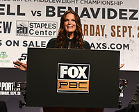 LOS ANGELES - SEPTEMBER 25: Fox's Heidi Androl hosts the Fox Sports PBC Pay-Per-View fight night final press conference on September 25, 2019 in. Los Angeles, California. (Photo by Frank Micelotta/Fox Sports/PictureGroup)