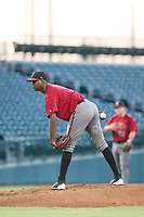 AZL Diamondbacks starting pitcher Wilfry Cruz (11) looks to his catcher for the sign against the AZL Cubs on August 11, 2017 at Sloan Park in Mesa, Arizona. AZL Cubs defeated the AZL Diamondbacks 7-3. (Zachary Lucy/Four Seam Images)