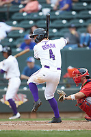Mitch Roman (4) of the Winston-Salem Dash at bat against the Salem Red Sox at BB&T Ballpark on April 22, 2018 in Winston-Salem, North Carolina.  The Red Sox defeated the Dash 6-4 in 10 innings.  (Brian Westerholt/Four Seam Images)