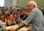 (Hooksett NH 080115) Presidential candidate Bernie Sanders wry smile, during campaign stop at Southern New Hampshire University, Saturday, August 1, 2015, in Hooksett. Herald Photo by Jim Michaud