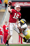 November 14, 2009: Michigan Wolverines defensive end Brandon Graham (55) pressures Wisconsin Badgers quarterback Scott Tolzien (16) during an NCAA football game at Camp Randall Stadium on November 14, 2009 in Madison, Wisconsin. The Badgers won 45-24. (Photo by David Stluka)