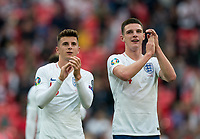 Declan Rice (West Ham United) & Mason Mount (Chelsea) of England at full time during the UEFA 2020 Euro Qualifier match between England and Bulgaria at Wembley Stadium, London, England on 7 September 2019. Photo by Andy Rowland.