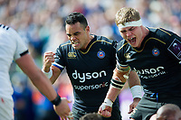 Kahn Fotuali'i and Tom Ellis of Bath Rugby celebrate a penalty at a defensive scrum. European Rugby Challenge Cup Quarter Final, between Bath Rugby and CA Brive on April 1, 2017 at the Recreation Ground in Bath, England. Photo by: Patrick Khachfe / Onside Images
