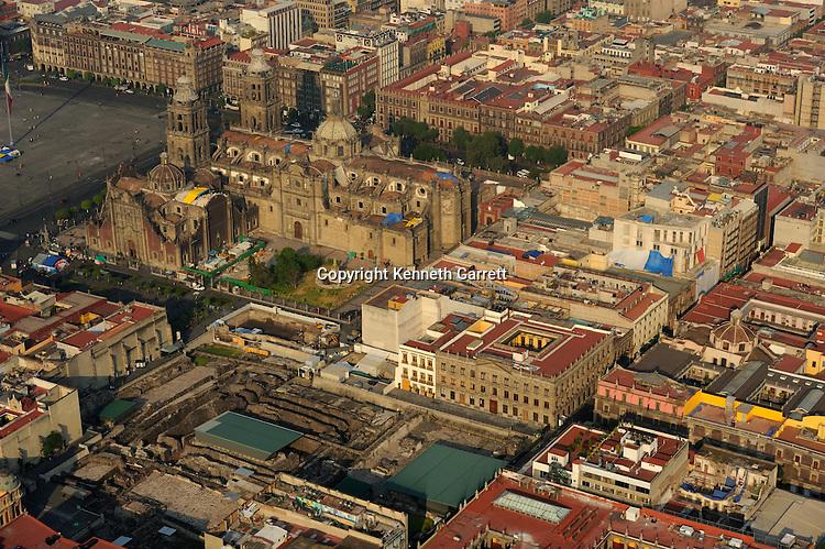 mm7677; Greatest Aztecs; Aerials; Templo Mayor; Mexico City; Centro Historico; Mexico, aerial, Cathedral, Zocalo