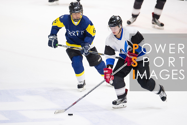 Verity Skater #6 Bernard Law (left) fights for the puck during the match Gaggia Empire vs Verity, a match part of the Principal Standard League on 07 March 2017 in Mega Ice, Hong Kong, China. Photo by Marcio Rodrigo Machado / Power Sport Images