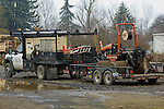 F-550 towing trailer with Ditch Witch trencher