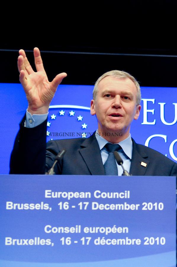 Yves Leterme à la Conference de presse du Sommet européen à Bruxelles..Yves Leterme at the presse conference of the European summit in Brussels