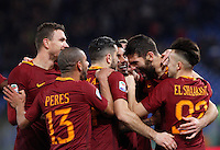 Calcio, Serie A: Roma vs Fiorentina. Roma, stadio Olimpico, 7 febbraio 2017.<br /> Roma's Federico Fazio, second from right, celebrates with teammates, from left, Edin Dzeko, Bruno Peres, Kostas Manolas, Emerson Palmieri and Stephan El Shaarawy, right, after scoring during the Italian Serie A soccer match between Roma and Fiorentina at Rome's Olympic stadium, 7 February 2017.<br /> UPDATE IMAGES PRESS/Riccardo De Luca