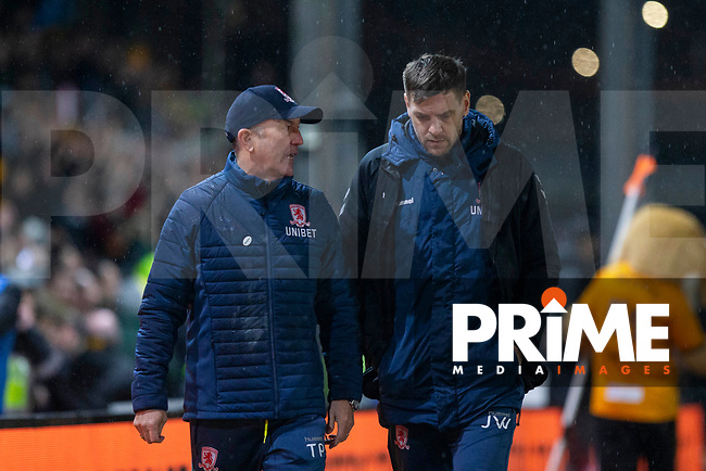 Middlesbrough manager Tony Pulis leaves the pitch with coach Jonathan Woodgate at full time of the FA Cup 4th round replay match between Newport County and Middlesbrough at Rodney Parade, Newport, Wales on 5 February 2019. Photo by Mark  Hawkins / PRiME Media Images.