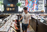Incoming Occidental College students participate in Oxy Engage with the group LA Icons and visit The Last Bookstore in downtown Los Angeles on Aug. 24, 2016.<br /> Oxy Engage is a pre-orientation program that introduces incoming students to the vibrant city of Los Angeles. Upperclassmen facilitators lead trips to experience culture, film, food, nature, social justice, the urban environment, and much more.<br /> (Photo by Marc Campos, Occidental College Photographer)