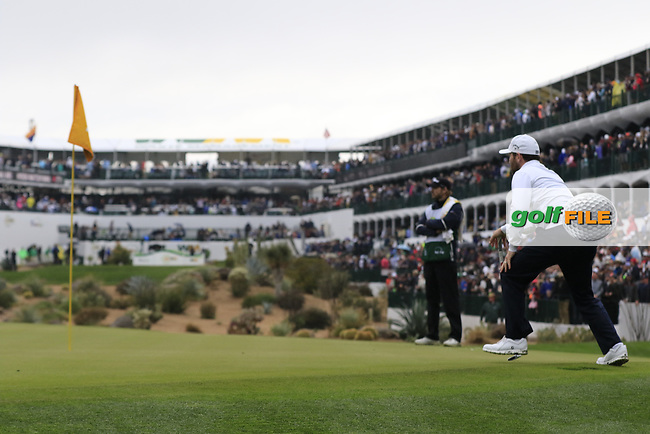 Brandon Grace (RSA) on the 16th green during the final round of the Waste Management Phoenix Open, TPC Scottsdale, Scottsdale, Arisona, USA. 03/02/2019.<br /> Picture Fran Caffrey / Golffile.ie<br /> <br /> All photo usage must carry mandatory copyright credit (&copy; Golffile | Fran Caffrey)