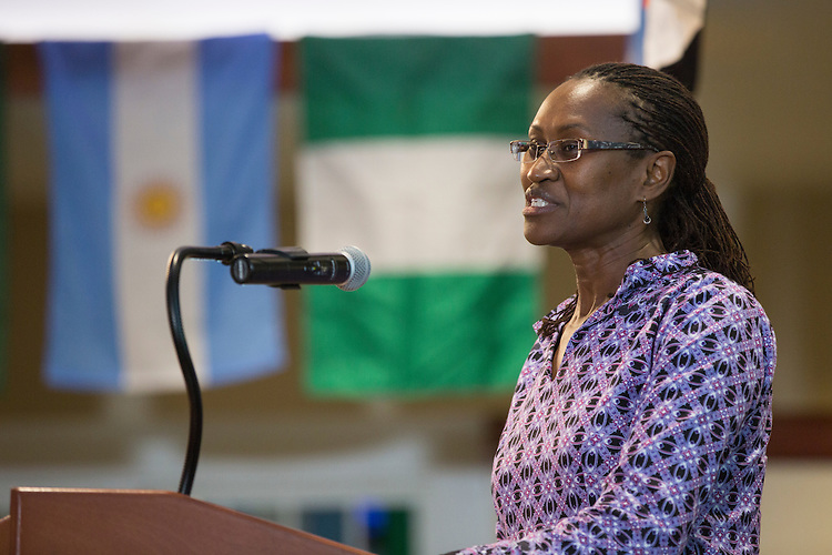 Dr. Edna Wangui, an associate professor in geography, gives an acceptance speech for the Faculty Award for Excellence in Global Engagement during The Global Engagement Awards Gala for International Education Week on November 16, 2016.