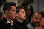 Real Madrid´s Cristiano Ronaldo (L) and James Rodriguez attend Jorge Mendes´s book presentation in Madrid, Spain. January 22, 2015. (ALTERPHOTOS/Victor Blanco)