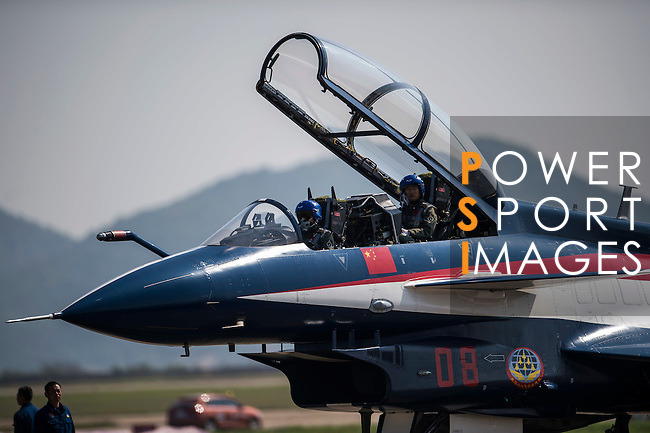 A People's Liberation Army Air Force (PLAAF) Chengdu J-10 jet fighter, manufactured by Chengdu Aerospace Corp., a unit of Aviation Industry Corp. of China (AVIC), gets ready for an aerobatics display at the China International Aviation & Aerospace Exhibition (Airshow China 2016) at China International Aviation Exhibition Center on 02 November 2016, in Zhuhai, China. Photo by Marcio Machado / Power Sport Images