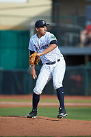Pulaski Yankees starting pitcher Leonardo Pestana (34) in action against the Danville Braves at Calfee Park on June 30, 2019 in Pulaski, Virginia. The Braves defeated the Yankees 8-5 in 10 innings.  (Brian Westerholt/Four Seam Images)