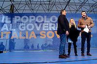 Giovanni Toti, Giorgia Meloni e Matteo Salvini<br /> Roma 28-01-2017. Piazza San Silvestro. Manifestazione della Destra 'Il popolo a governo Italia sovrana'.<br /> Rome January 28th 2017. Demonstration of the right wing against the Government.<br /> Foto Samantha Zucchi Insidefoto