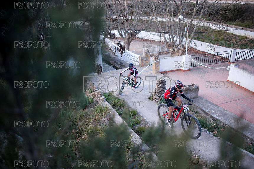 Chelva, SPAIN - MARCH 6: Carlos Peris, Adrian Martinez during Spanish Open BTT XCO on March 6, 2016 in Chelva, Spain