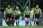 30 August 2013: Match officials. From left: Assistant Referee Saeed Mohamed, Referee John Brady, Fourth Official Katie Dziedzic, Assistant Referee Paul Putnam. The University of North Carolina Tar Heels hosted the Monmouth University Hawks at Fetzer Field in Chapel Hill, NC in a 2013 NCAA Division I Men's Soccer match. UNC won the game 1-0 in two overtimes.