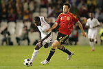 04 June 2008: Eddie Johnson (USA) (9) and Carlos Marchena (ESP) (4) challenge for the ball. The Spain Men's National Team defeated the United States Men's National Team 1-0 at Estadio Municipal El Sardinero in Santander, Spain in an international friendly soccer match.