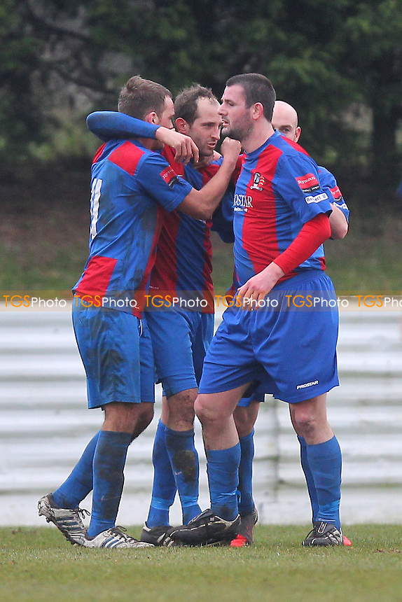 Maldon players celebrate their goal scored by Ollie Berquez (2nd L) - Maldon & Tiptree vs Romford - Ryman League Division One North Football - 16/03/13 - MANDATORY CREDIT: Gavin Ellis/TGSPHOTO - Self billing applies where appropriate - 0845 094 6026 - contact@tgsphoto.co.uk - NO UNPAID USE.