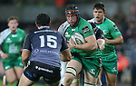 Connacht flanker Eoin McKeon charges at Ospreys full back Dan Evans.<br /> Guiness Pro12<br /> Ospreys v Connacht<br /> Liberty Stadium<br /> 31.10.14<br /> &copy;Steve Pope-SPORTINGWALES