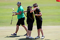 Taranaki celebrate a victory over Aorangi. Day One of the Toro Interprovincial Women's Championship, Sherwood Golf Club, Wjangarei,  New Zealand. Monday 4 December 2017. Photo: Simon Watts/www.bwmedia.co.nz