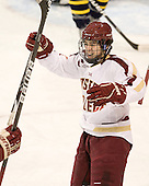 Johnny Gaudreau (BC - 13) - The Boston College Eagles defeated the Merrimack College Warriors 4-2 to give Head Coach Jerry York his 900th collegiate win on Friday, February 17, 2012, at Kelley Rink at Conte Forum in Chestnut Hill, Massachusetts.