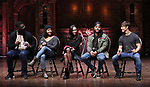 "Carvens Lissaint, Sasha Hollinger, Sabrina Imamura, Terrance Spencer and Thayne Jasperson during The Rockefeller Foundation and The Gilder Lehrman Institute of American History sponsored High School student #eduHam matinee performance of ""Hamilton"" Q & A at the Richard Rodgers Theatre on December 5,, 2018 in New York City."