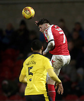 Fleetwood Town's Wes Burns wins an aerial ball despite the attentions of Oxford United's Curtis Nelson<br /> <br /> Photographer Rich Linley/CameraSport<br /> <br /> The EFL Sky Bet League One - Fleetwood Town v Oxford United - Saturday 12th January 2019 - Highbury Stadium - Fleetwood<br /> <br /> World Copyright &copy; 2019 CameraSport. All rights reserved. 43 Linden Ave. Countesthorpe. Leicester. England. LE8 5PG - Tel: +44 (0) 116 277 4147 - admin@camerasport.com - www.camerasport.com