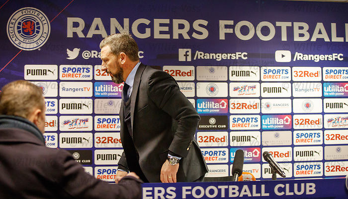 Derek McInnes at the Rangers post match presser at Ibrox tonight