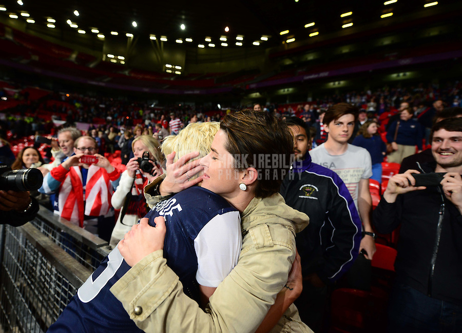Aug 6, 2012; Manchester , United Kingdom; USA midfielder Megan Rapinoe (left) celebrates in the crowd with girlfriend Sarah Walsh following USA's win in extra time against Canada in the semi finals during the London 2012 Olympic Games at Old Trafford. Mandatory Credit: Mark J. Rebilas-USA TODAY Sports