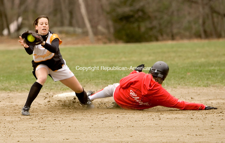 PLYMOUTH, CT--18 APRIL 2007--041807JS02-Nonnewaug's Shauna Doherty steals second base as Terryville's Christina Berry covers the throw during their game Wednesday at Main Street School in Plymouth. Terryville won the game 3-1.<br /> Jim Shannon / Republican-American