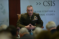 Washington, DC - March 29, 2016:  U.S. Marine Corps General Joseph Dunford, 19th Chairman of the Joint Chiefs of Staff, listens to an audience question on the subject of global security during a discussion at the Center for Strategic and International Studies in the District of Columbia, March 29, 2016.  (Photo by Don Baxter/Media Images International)