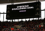 The scoreboard inside the stadium shows that VAR is checking the offside decision that is then overturned to award Arsenal's Alexandre Lacazette the a goal to make it 1-0 during the Premier League match at the Emirates Stadium, London. Picture date: 7th March 2020. Picture credit should read: Paul Terry/Sportimage