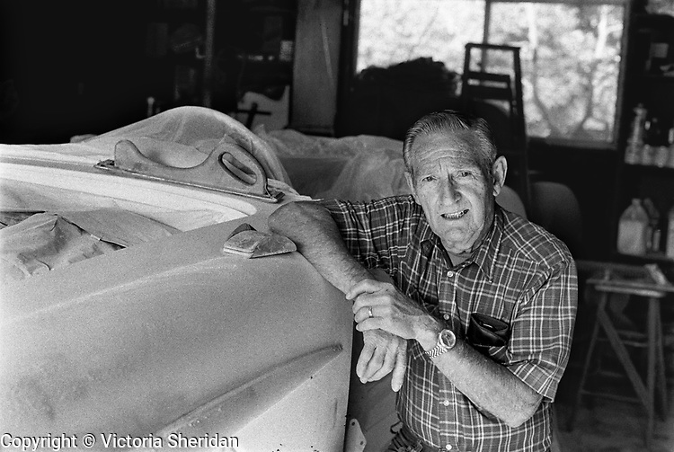 80 year old Automobile Restorer Bill Myers. Part of the Face of Labor portrait series. 1999 (Photo/Victoria Sheridan)