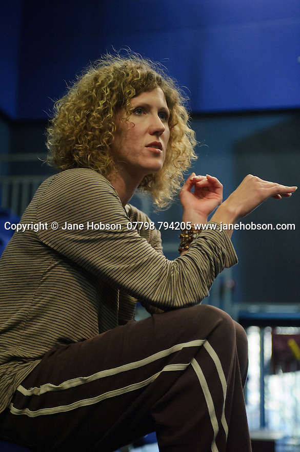 Cardiff, UK. 19.01.2016. National Dance Company Wales in the studio at Dance House, Wales Millennium Centre, rehearsing FOLK, choreographed by artistic director, Caroline Finn, in preparation for their Spring Tour 2016. Picture shows: Caroline Finn. Photograph © Jane Hobson.