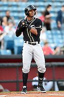 Omaha Storm Chasers second baseman Jimmy Paredes (17) at bat during a game against the Nashville Sounds on May 19, 2014 at Herschel Greer Stadium in Nashville, Tennessee.  Nashville defeated Omaha 5-4.  (Mike Janes/Four Seam Images)