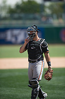 San Jose Giants catcher Joey Bart (9) during a California League game against the Stockton Ports on April 9, 2019 in Stockton, California. San Jose defeated Stockton 4-3. (Zachary Lucy/Four Seam Images)