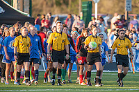 Kansas City, Mo. - Saturday April 23, 2016: Officials and players enter the field before FC Kansas City hosts Portland Thorns FC at Swope Soccer Village. The match ended in a 1-1 draw.