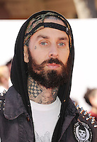 WWW.BLUESTAR-IMAGES.COM  Musician Travis Barker arrives at the Los Angeles premiere of 'The Lego Movie' held at Regency Village Theatre on February 1, 2014 in Westwood, California.<br /> Photo: BlueStar Images/OIC jbm1005  +44 (0)208 445 8588