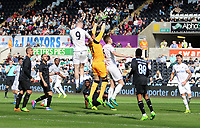 SWANSEA, WALES - MARCH 25: Oli McBurnie of Swansea City contends with keeper Raul Vega of Porto during the Premier League International Cup Semi Final match between Swansea City and Porto at The Liberty Stadium on March 25, 2017 in Swansea, Wales. (Photo by Athena Pictures)
