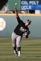Nick Torres #10 of the Cal Poly Mustangs during a game against the UCLA Bruins at Jackie Robinson Stadium on February 22, 2014 in Los Angeles, California. Cal Poly defeated UCLA, 8-0. (Larry Goren/Four Seam Images)