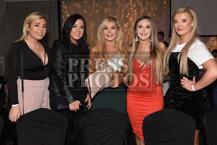 Jessica Dyas, Stephanie Smith, Emma Dowd, Gemma Saurin and Megan Clarke at the White Collar boxing event in the Westcourt hotel in aid of SOSAD. Photo:Colin Bell/pressphotos.ie