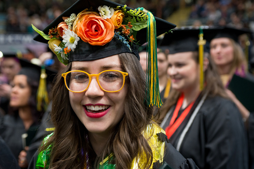 Hope Meyn, NURS BS, during the UAA Spring 2018 Commencement at the Alaska Airlines Center.