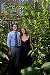 """June 23, 2010. Durham, North Carolina.. Vanessa Woods was a researcher of the bonobo in the Congo. A book about her findings """"Bonobo Handshake: A Memoir of Love and Adventure in the Congo"""" was published last month.. She is pictured here on the campus of Duke University with her husband and collaborator, Brian Hare, with whom she works at the Canine Cognition Center."""