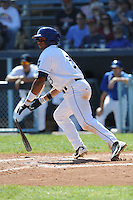 Asheville Tourists Russell Wilson #3 breaks his bat on a swing during a game against  the Lexington Legends at McCormick Field in Asheville,  North Carolina;  April 17, 2011. Lexington defeated Aheville 18-9.  Photo By Tony Farlow/Four Seam Images