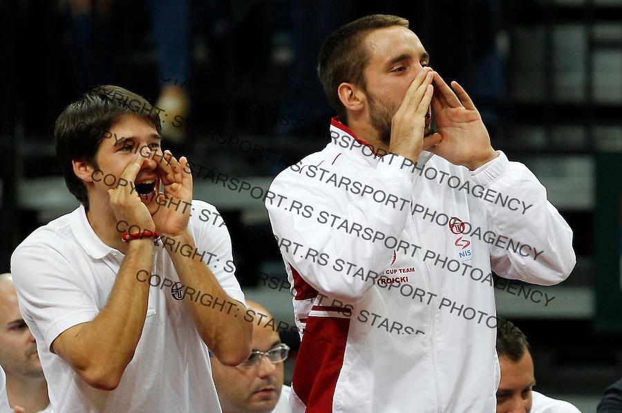 Davis Cup.Czech Republic Vs. Serbia.Janko Tipsarevic Vs. Radek Stepanek.Dusan Lajovic and Viktor Troicki.Prague, 06.04.2012..foto: Srdjan Stevanovic/Starsportphoto ©