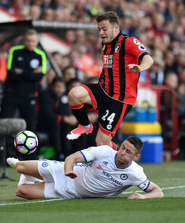 Bournemouth's Ryan Fraser (L) is tackled by Chelsea's Gary Cahill (R)<br /> <br /> Bournemouth 1 - Chelsea 3<br /> <br /> Photographer David Horton/CameraSport<br /> <br /> The Premier League - Bournemouth v Chelsea - Saturday 8th April 2017 - Vitality Stadium - Bournemouth<br /> <br /> World Copyright &copy; 2017 CameraSport. All rights reserved. 43 Linden Ave. Countesthorpe. Leicester. England. LE8 5PG - Tel: +44 (0) 116 277 4147 - admin@camerasport.com - www.camerasport.com
